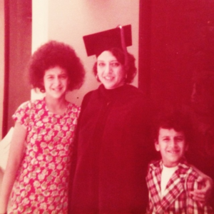 Rikki Fleisher with her children Paula and Julian at her law school graduation.