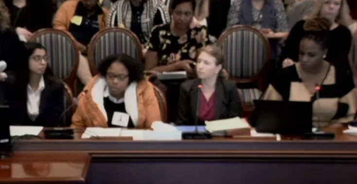 Brandy James testified along with PJC attorney Renuka Rege for a bill that would have amended Maryland's reportable offense law.